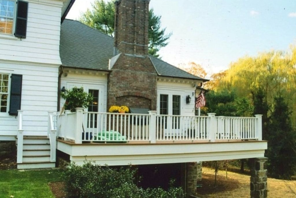 Rye NY Colonial home addition with deck by DeMotte Architects