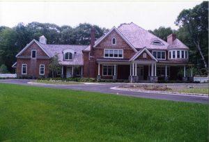pound ridge ny shingle style house exterior by demotte architects