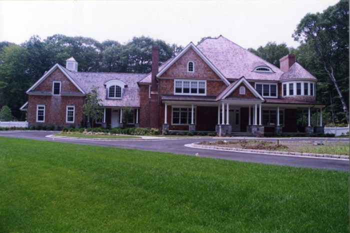 pound ridge ny shingle style house exterior by demotte architects