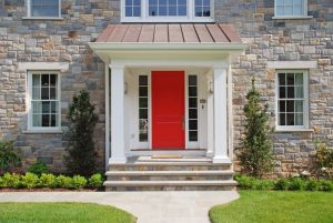 Scarsdale NY custom home design by DeMotte Architects front door red