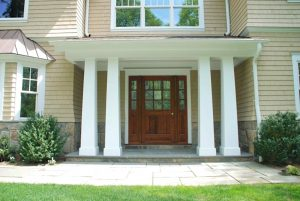Scarsdale NY shingle home design front door