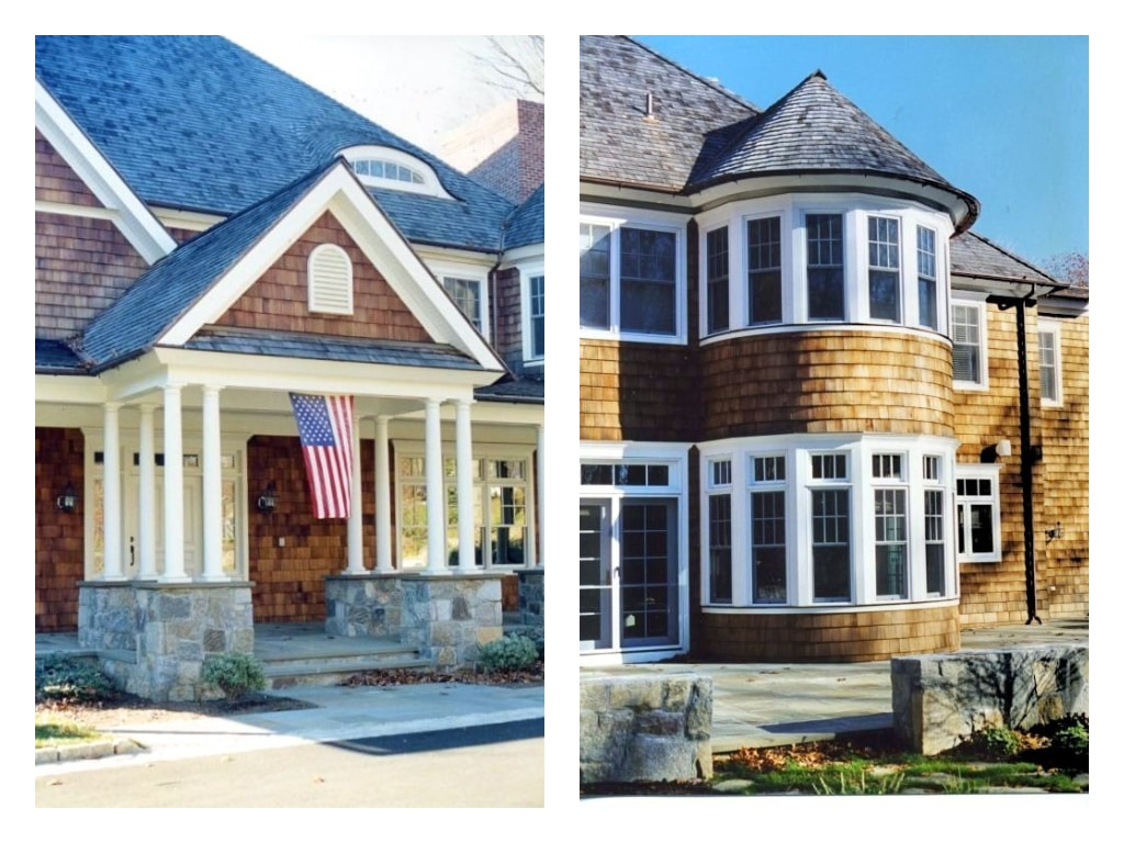 Traditional shingle style home design by DeMotte Architects details shown