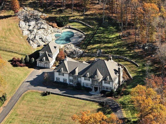 Aerial view of Katonah NY home and pool house design