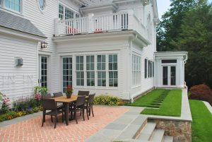 Westport CT Colonial by DeMotte Architects patio shown