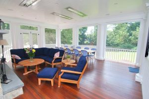 Westport CT home screened porch interior shown