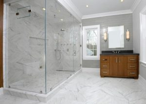 Bathroom with shower in contemporary Colonial in Greenwich CT