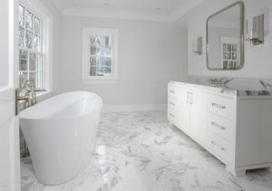 Bathroom with tub in Greenwich CT spec house