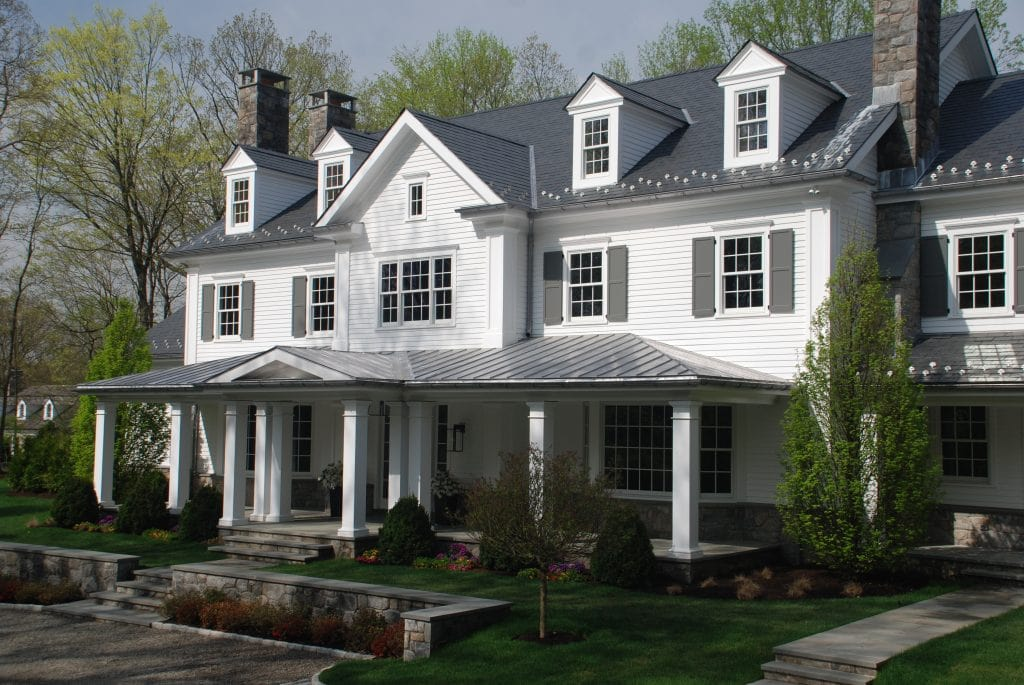Colonial home in Greenwich CT front exterior