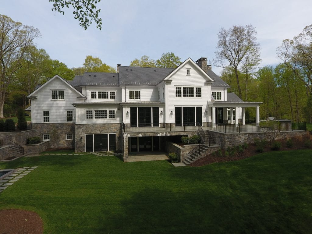 Contemporary Colonial spec house in Greenwich CT rear shown