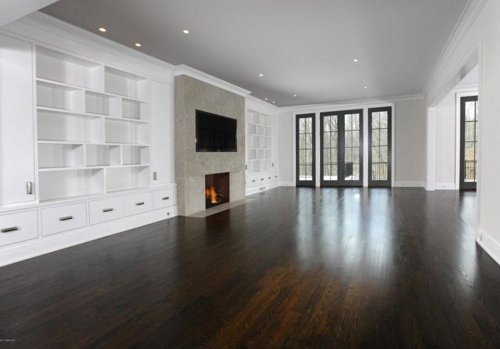family room in spec house greenwich ct