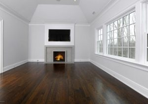 Greenwich CT Colonial home interior with fireplace