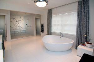 Colonial home bathroom with contemporary design