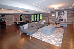 family room in greenwich ct colonial home by demotte architects