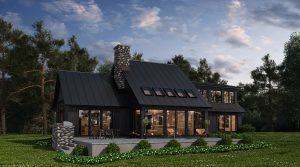 scandinavian modern home backyard in ny