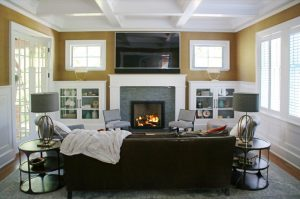 Chappaqua NY home remodel with living room by DeMotte Architects
