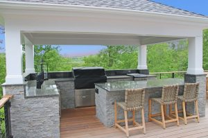 Chappaqua NY home remodel with outdoor kitchen by DeMotte Architects