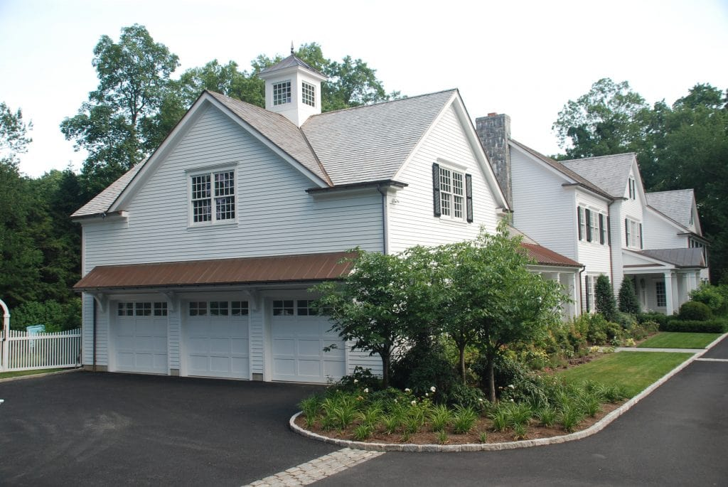 Greenwich CT home design with 3 car garage by DeMotte Architects