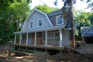 exterior of shingle home being built in connecticut