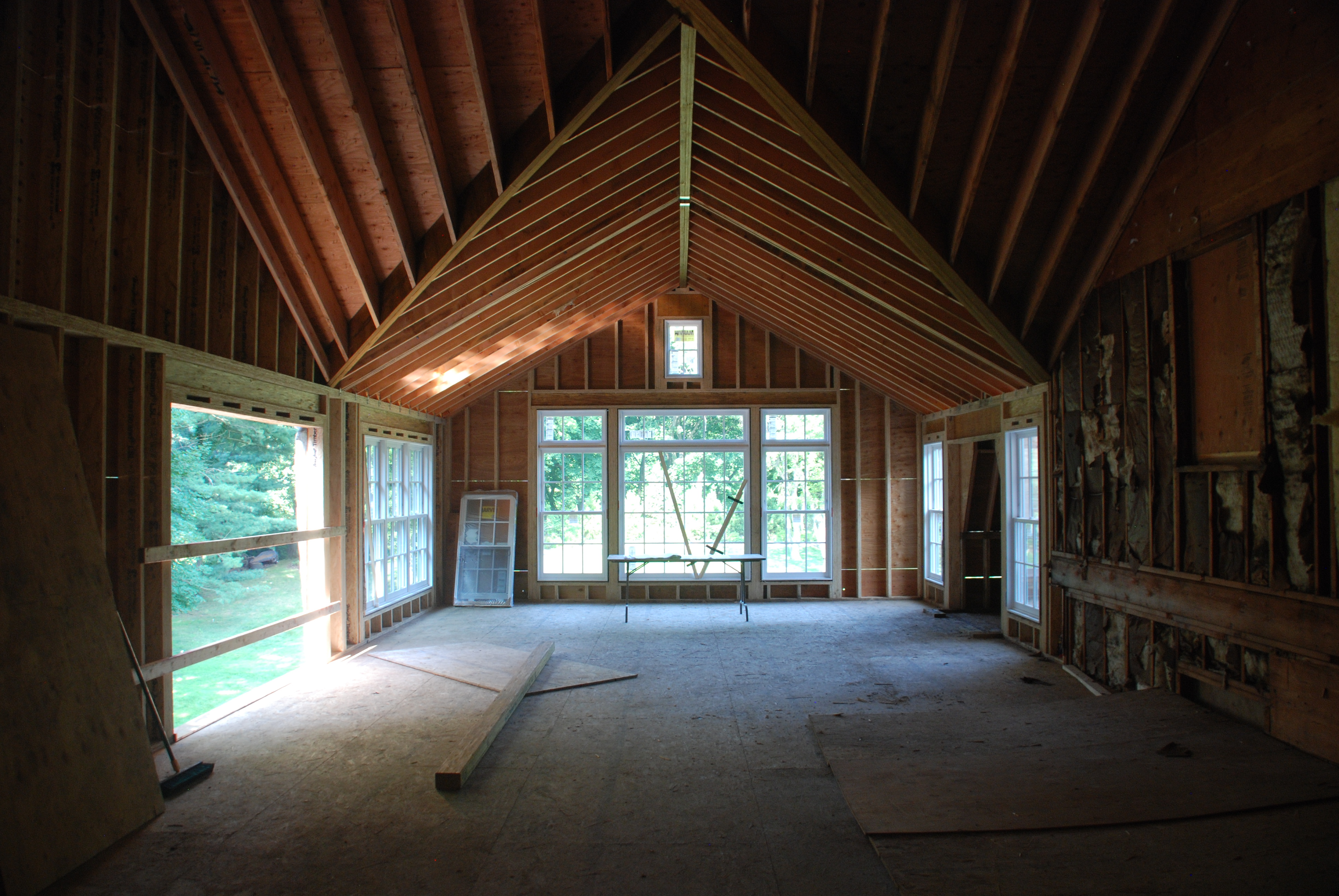 interior framing of rye ny home addition by demotte architects