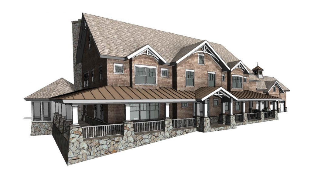 front left of bedford ny shingle style house by demotte architects