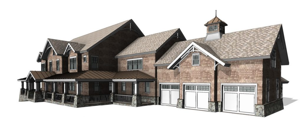 front right of bedford ny shingle style house by demotte architects