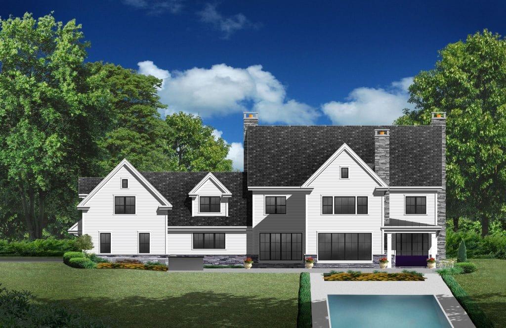 2 modern farmhouse design rear by demotte architects in greenwich