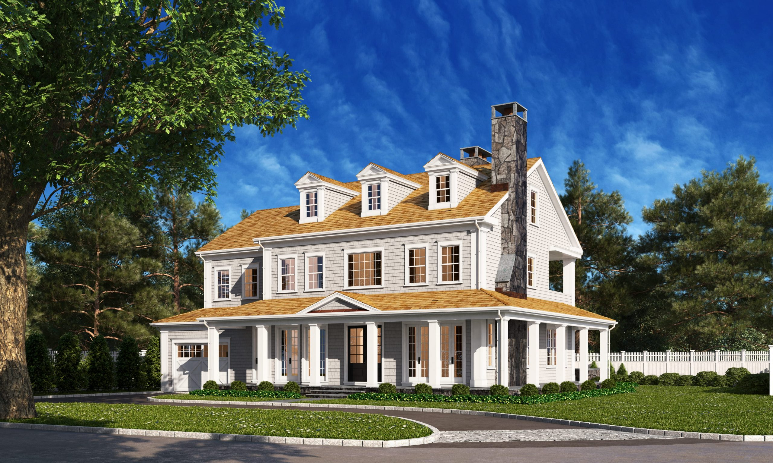 Riverside CT home design by DeMotte Architects front shown