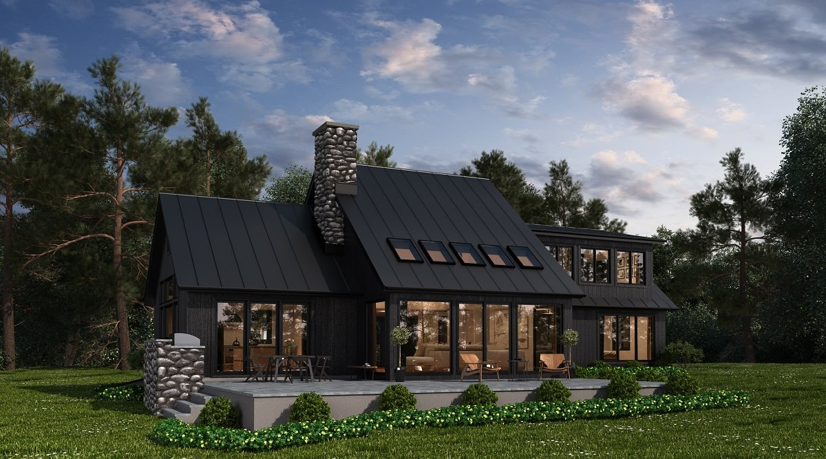 Woodstock NY home design by DeMotte Architects rear shown