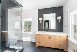 Contemporary bathroom in modern farmhouse