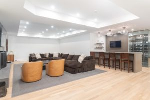 Entertaining area with bar in modern farmhouse in Greenwich CT
