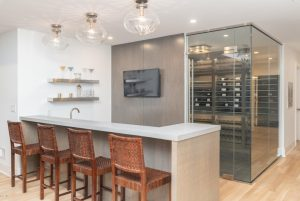 Greenwich CT modern farmhouse bar and wine room