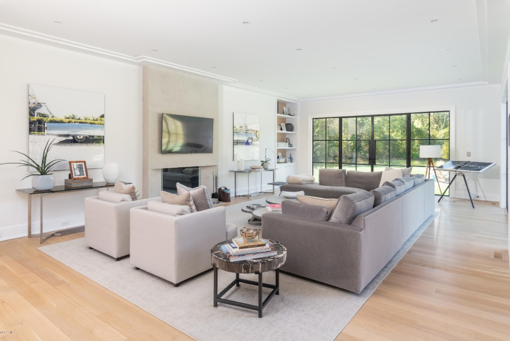 Greenwich CT modern farmhouse family room