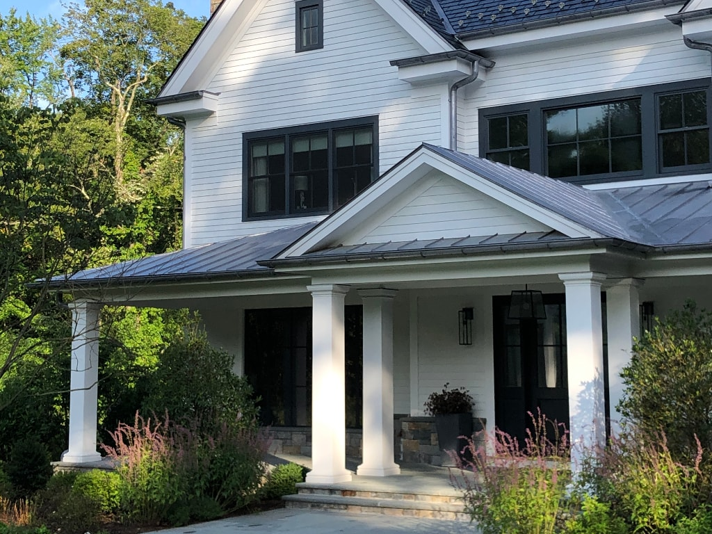 Modern farmhouse design front of home in Greenwich CT