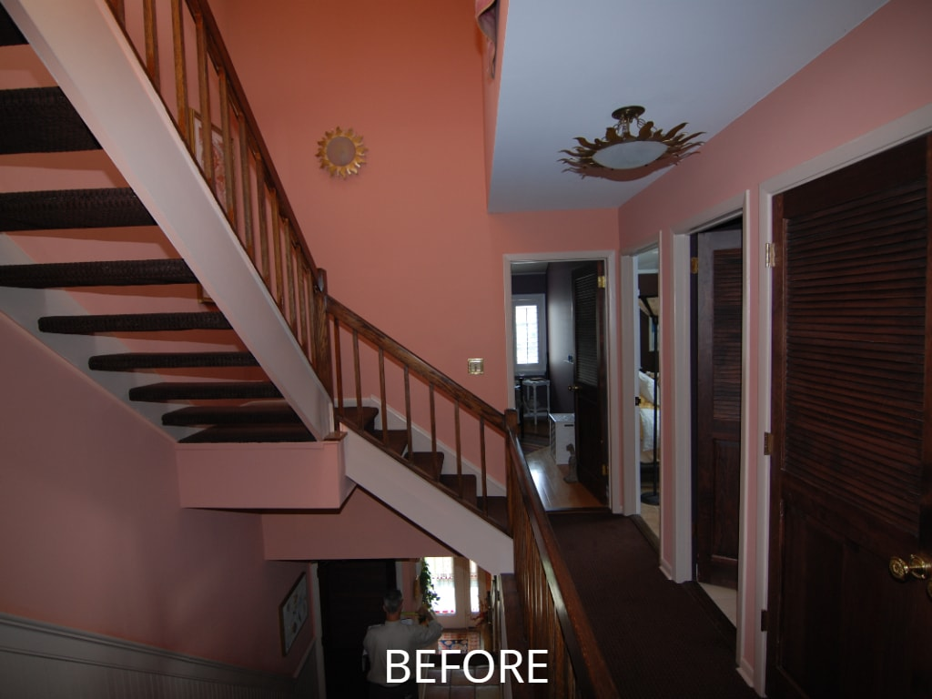 stairs and hall before remodel