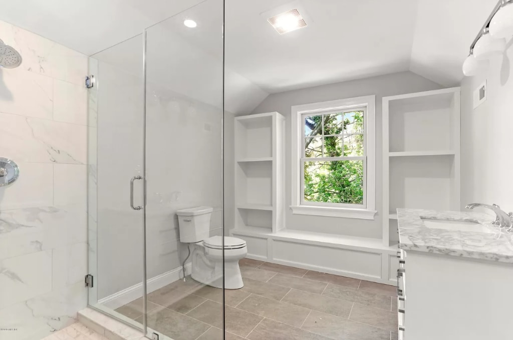 Bathroom in Riverside CT shingle style home