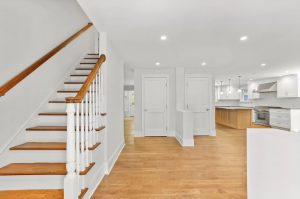 Entry and kitchen in Riverside CT shingle style home