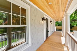 Riverside CT shingle style home front porch by DeMotte Architects