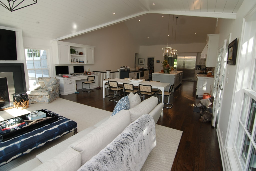 Family room and kitchen in Rye NY home addition