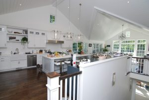 Home addition kitchen and family room shown in Rye