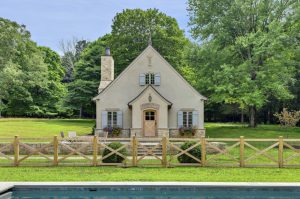 French country style pool house guest house by DeMotte Architects