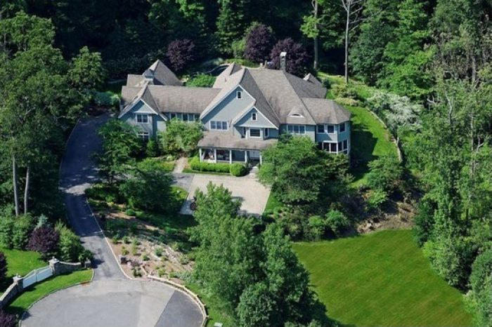 Ariel view of shingle style house