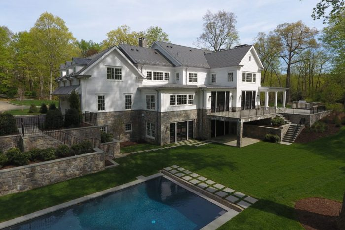 backyard and pool of greenwich ct house