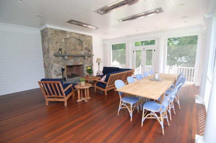 interior of screened porch in westport ct by demotte architects