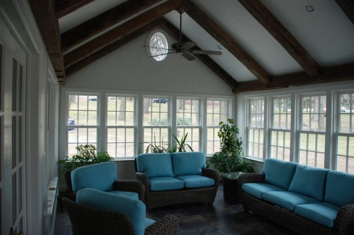 interior of sun room addition in darien ct by demotte architects