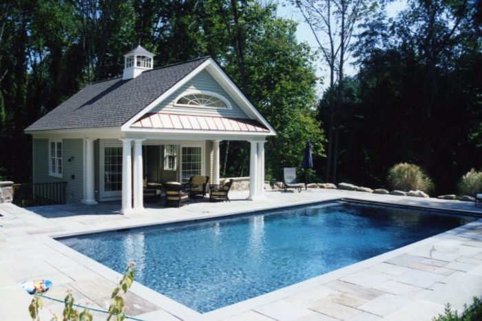 exterior of pool house in katonah ny by demotte architects