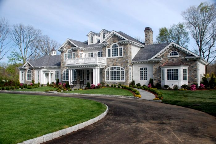 front of greenwich ct custom home by demotte architects